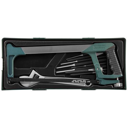 M645114ST (M645114SP) JONNESWAY Набор инструмента ножовка, разводной ключ, зубила и выколотки, 14 предметов (ложемент)