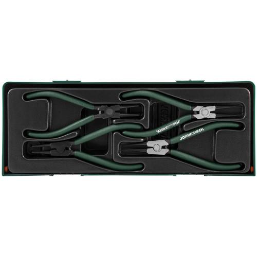 """AG010002SC JONNESWAY Ложемент с пластиковой крышкой, Набор щипцов 7"""" для демонтажа стопорных колец 4 предмета. Ложемент с пластиковой крышкой."""