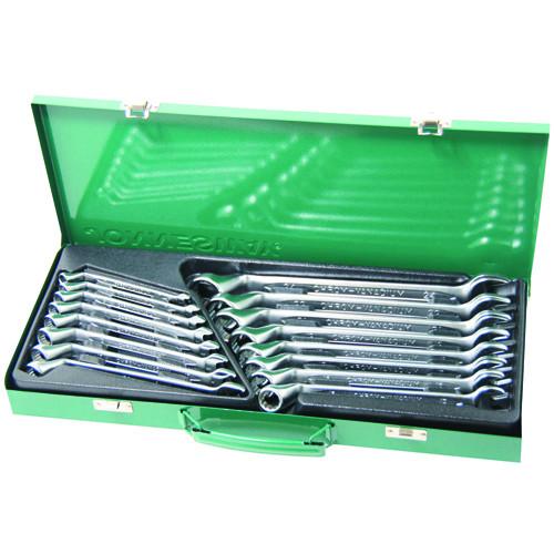 W69116S JONNESWAY Набор ключей гаечных комбинированных с накидным изогнутым профилем 75° в кейсе, 7-24 мм, 16 предметов