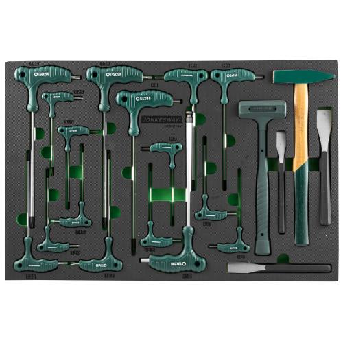 H10121SV JONNESWAY Набор угловых отверток (торцевых ключей), шестигранных и TORX, молотков и зубил. 21 предмет в EVA ложементе 560х400 мм.