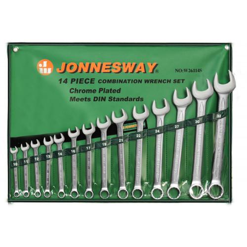W26114S JONNESWAY Набор ключей гаечных комбинированных в сумке, 10-32 мм, 14 предметов