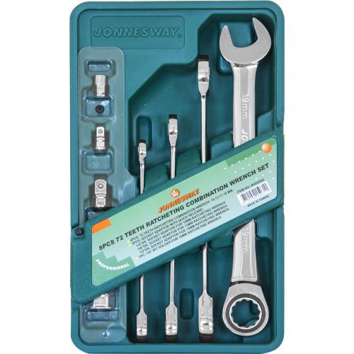 W45508S JONNESWAY Набор комбинированных трещоточных ключей 10-19 мм. и адаптеров 8 предметов