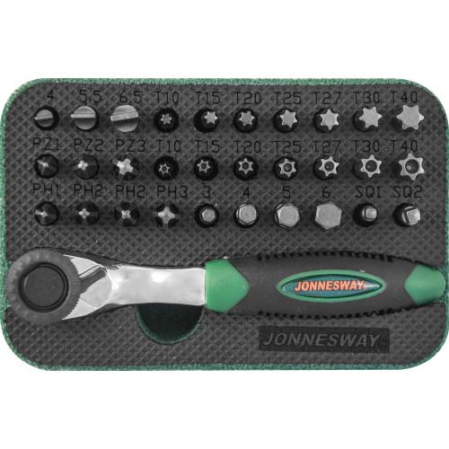 """RD01032S JONNESWAY Набор вставок-бит с трещоточной рукояткой мини 1/4"""" 60 зубцов, 32 предмета"""