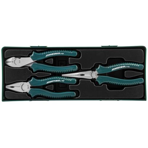 P0803SP JONNESWAY Набор шарнирно-губцевого инструмента: пассатижи, бокорезы, утконосы, 3 предмета (ложементы)
