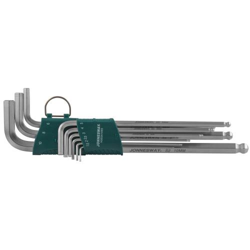 H06SA109S JONNESWAY Набор торцевых шестигранных ключей EXTRA LONG с шаром 1,5-10 мм. 9 предметов