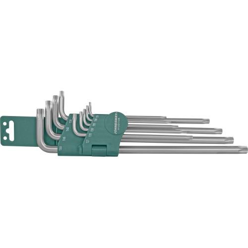 H12S110S JONNESWAY Комплект угловых ключей Torx Extra Long Т9-Т50, 1 S2 материал, 10 предметов