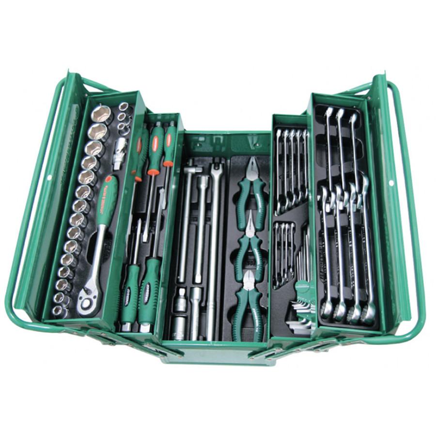 """C-3DH262 JONNESWAY Универсальный набор (инструментальный ящик) торцевых головок 1/2""""DR 10-32 мм, ключей 6-22 мм, угловых ключей 1,5-10мм, и отверток, 62 предмета"""