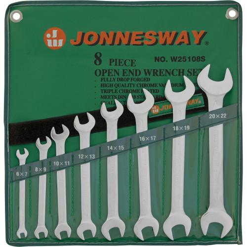 W25108S JONNESWAY Набор ключей гаечных рожковых в сумке, 6-22 мм, 8 предметов