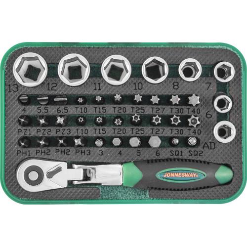 """RD02040S JONNESWAY Набор торцевых головок 1/4"""" вставок-бит с трещоточной рукояткой мини 1/4"""" 60 зубцов, 40 предметов"""