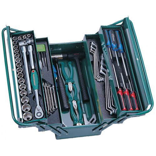 """C-3DH203 JONNESWAY Универсальный набор (инструментальный ящик) Торцевых головок 1/2""""DR 10-32 мм, Ключей 6-22 мм, Угловых ключей 1,5-10 мм, и Отверток, 66 предметов"""