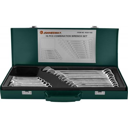 W26116S JONNESWAY Набор ключей гаечных комбинированных в кейсе, 6-24 мм, 16 предметов