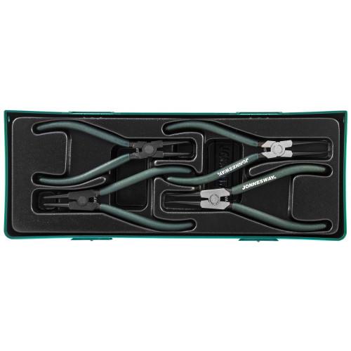 """AG010002SP JONNESWAY Универсальный набор щипцов для стопорных колец """"разжим и сжим"""" 7"""", 4 предмета (ложемент)"""