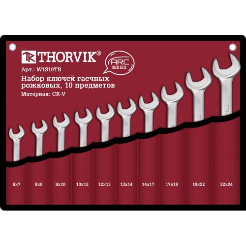 W1S10TB Thorvik Набор ключей рожковых в сумке, 6-24 мм, 10 предметов
