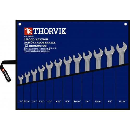"""CWIS0012 Thorvik Набор ключей гаечных комбинированных дюймовых в сумке 1/4""""-15/16"""", 12 предметов"""