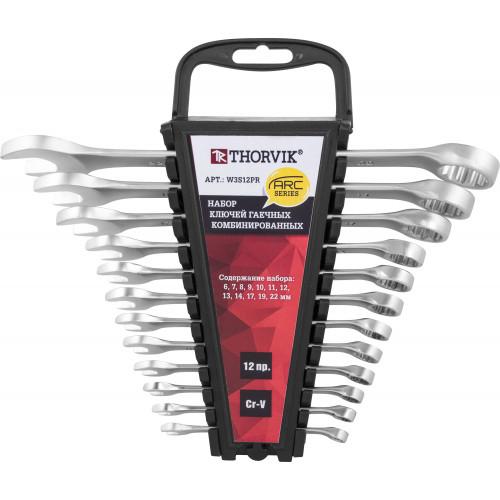 W3S12PR Thorvik Набор ключей комбинированных  на пластиковом держателе 6-22 мм, 12 предметов