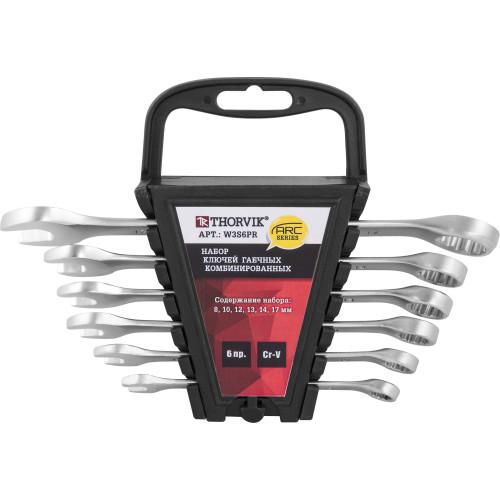 W3S6PR Thorvik Набор ключей комбинированных на пластиковом держателе 8-17 мм, 6 предметов