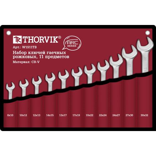 W1S11TB Thorvik Набор ключей рожковых в сумке, 8-32 мм, 11 предметов