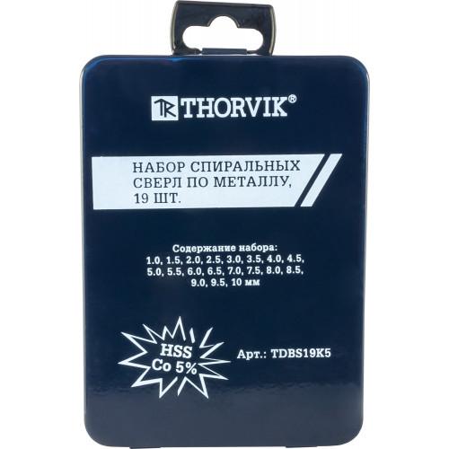 TDBS19K5 Thorvik Набор спиральных сверл по металлу HSS Co в металлическом кейсе, d1.0-10.0 мм, 19 предметов