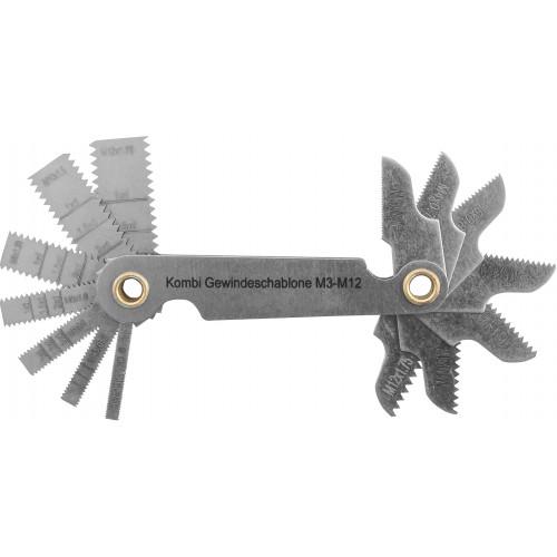 PG14SC Thorvik Набор резьбовых шаблонов комбинированных для наружных и внутренних резьб, 14 предметов
