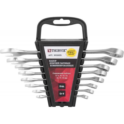 W3S8PR Thorvik Набор ключей комбинированных на пластиковом держателе 6-19 мм, 8 предметов