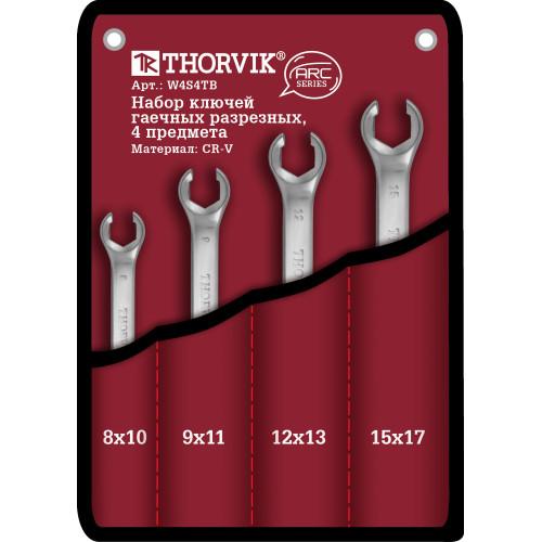 W4S4TB Thorvik Набор ключей разрезных в сумке 8-17 мм, 4 предмета