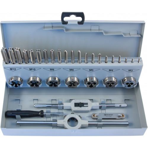 MTDS32 Thorvik Набор метчиков трехпроходных ручных универсальных и плашек круглых ручных серий COMBO М3-М12, HSS-G, 32 предмета