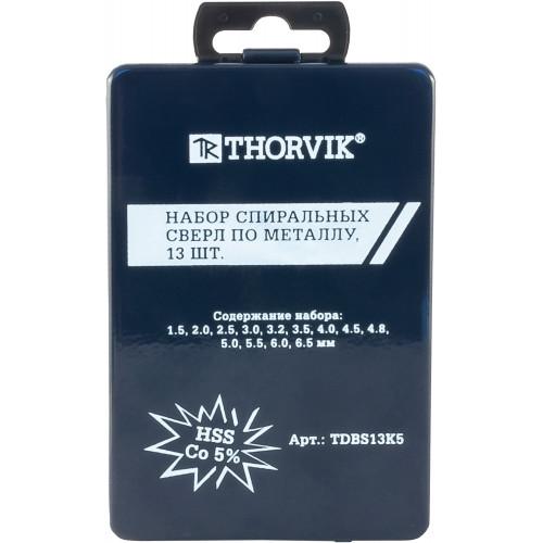 TDBS13K5 Thorvik Набор спиральных сверл по металлу HSS Co в металлическом кейсе, d1.5-6.5 мм, 13 предметов