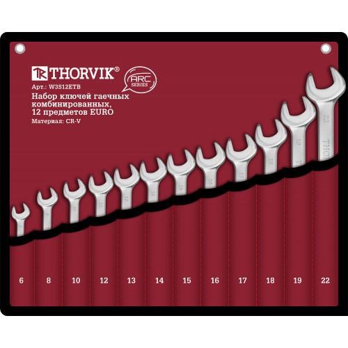 W3S12ETB Thorvik Набор ключей комбинированных в сумке, 6-22 мм, 12 предметов