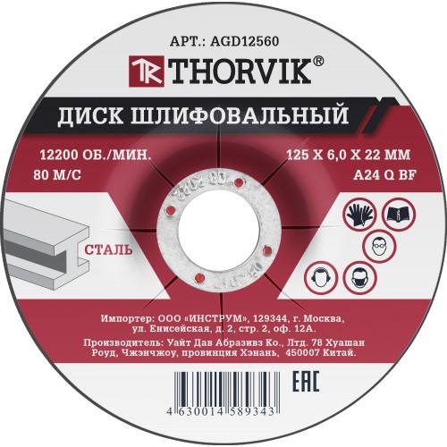 AGD12560 Thorvik Диск шлифовальный абразивный по металлу, 125х6х22 мм