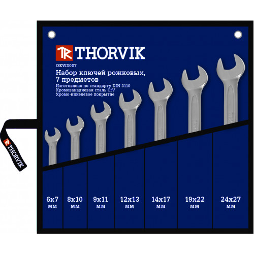 OEWS007 Thorvik Набор ключей рожковых в сумке 6-27 мм, 7 предметов